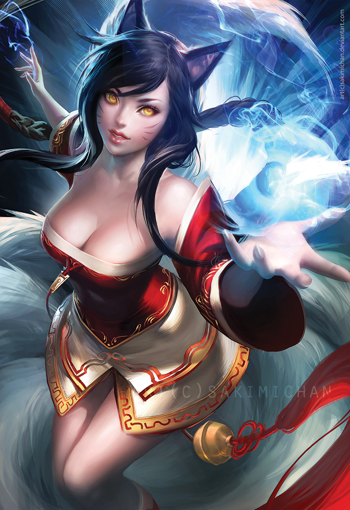 Ahri - The Ninetailed fox Ahri_by_sakimichan-d6gytt0