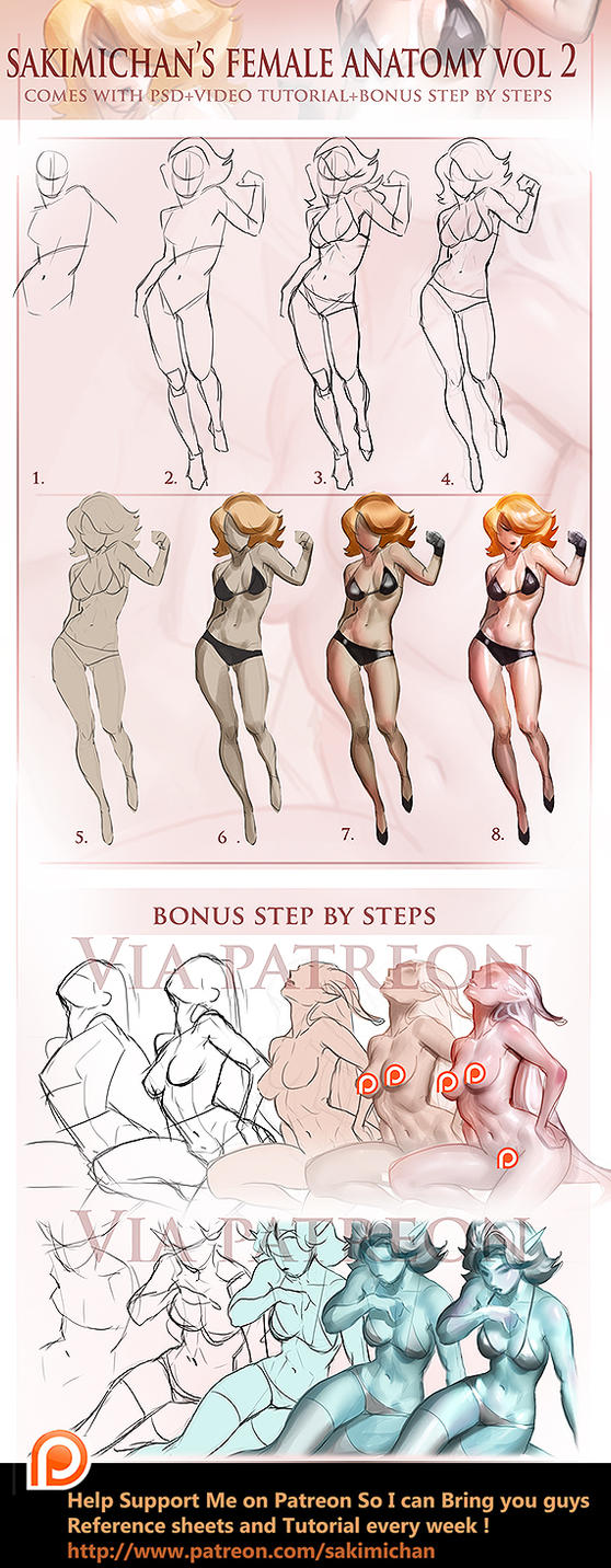 Female Fullbody step by step Vol 2 tutorial by sakimichan