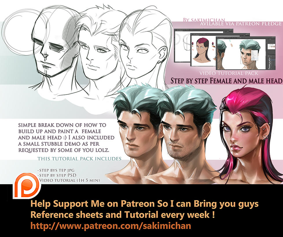 3/4 view head step by step tutorial pack by sakimichan
