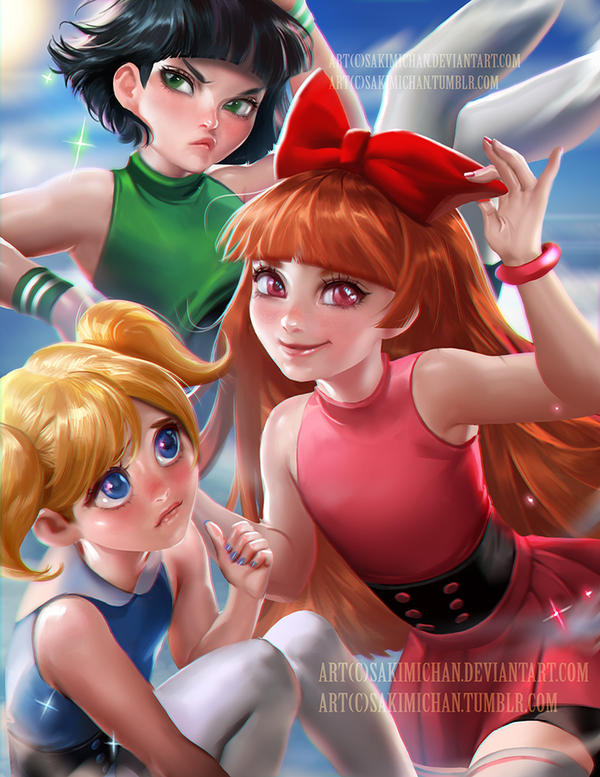 Powerpuff girls by sakimichan