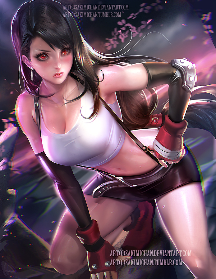 Tifa. nsfw version optional. by sakimichan
