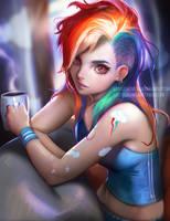 Rainbow Dash Morning by sakimichan