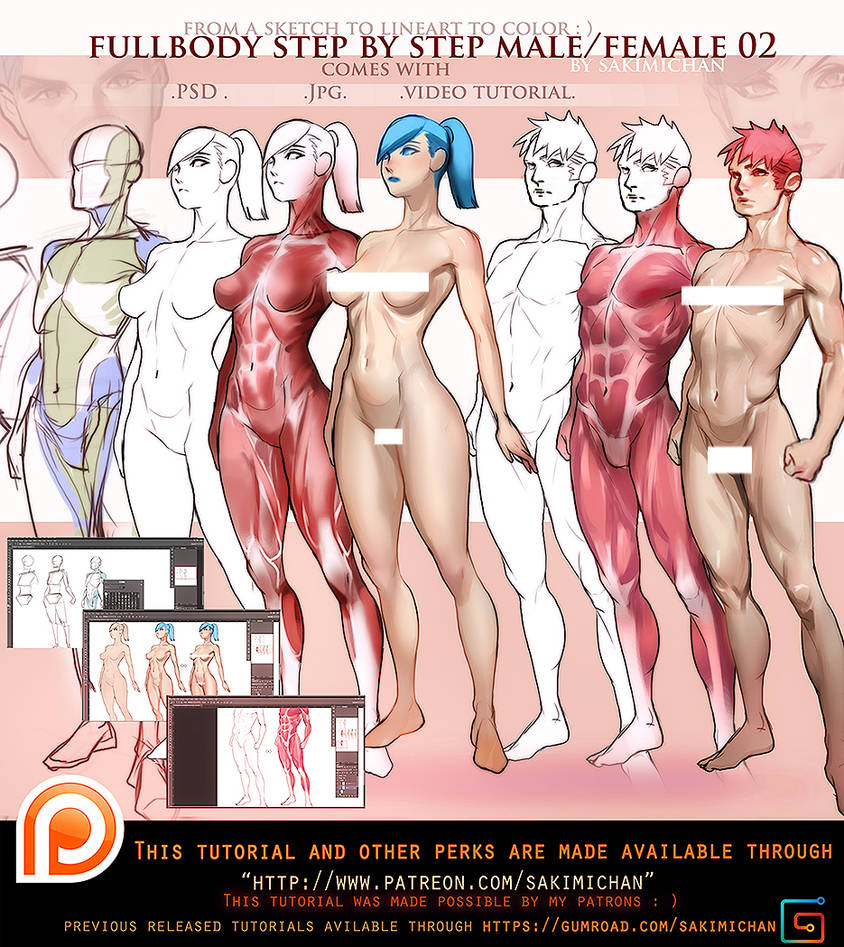 Female. Male 3/4 fullbody tutorial pack .promo. by sakimichan