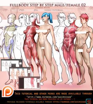 Female. Male 3/4 fullbody tutorial pack .promo.