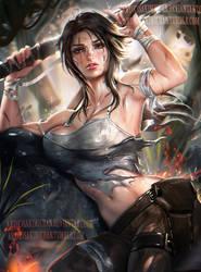 Lara croft Pinup by sakimichan