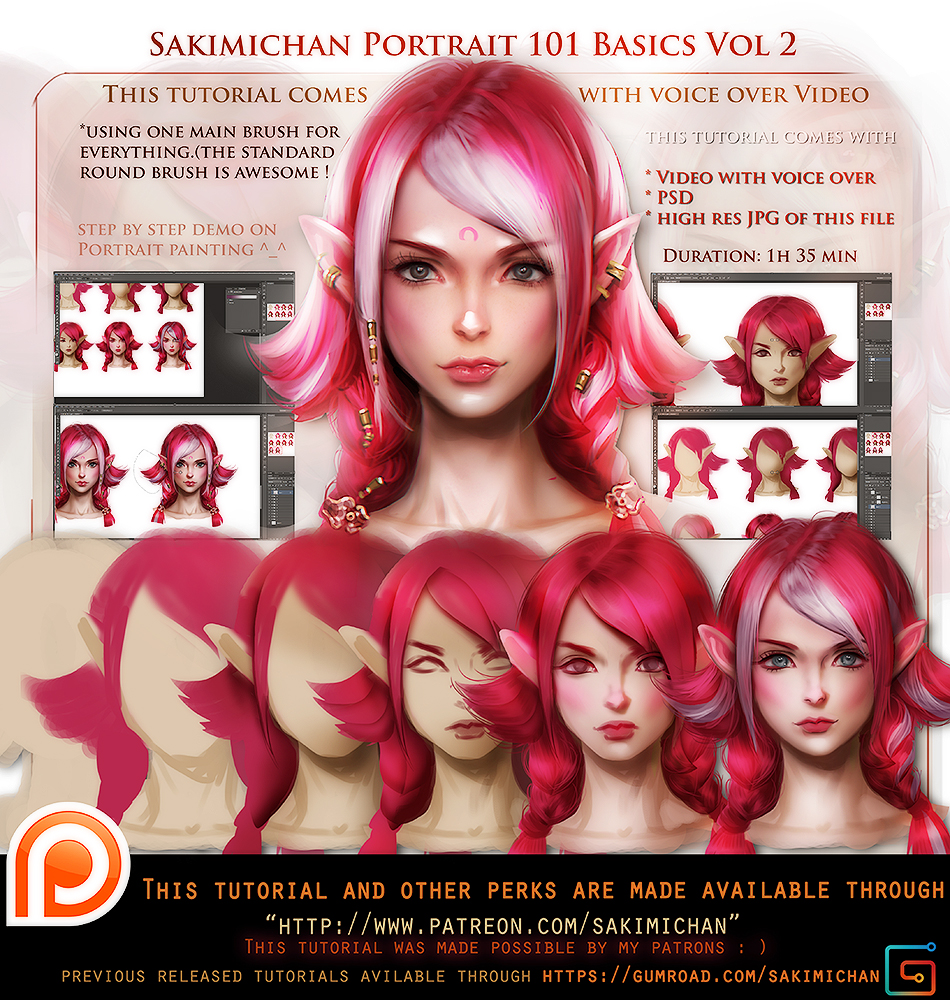 Portrait 101 vol2 voice over tutorial pack promo by for Portrait painting tutorial