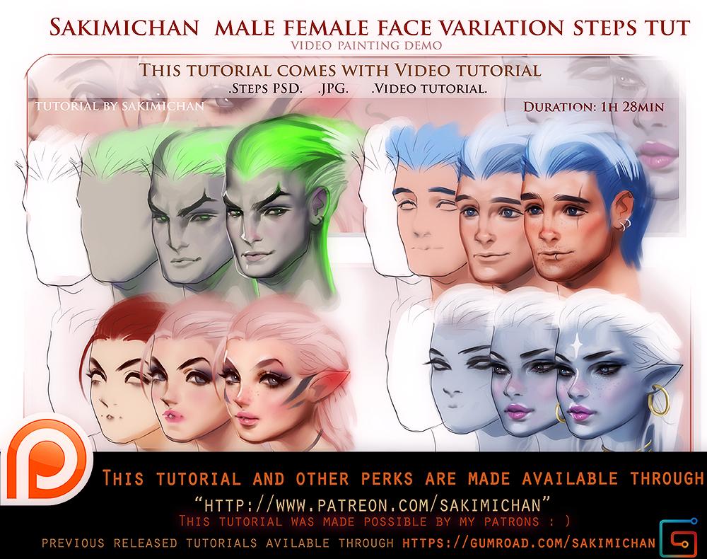Female Male Face Variation Tutorial Pack By Sakimichan On Deviantart