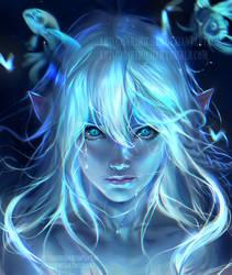 Blue Glow by sakimichan