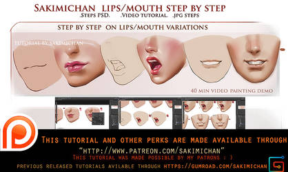 lip variation step by step tutorial pack.promo. by sakimichan