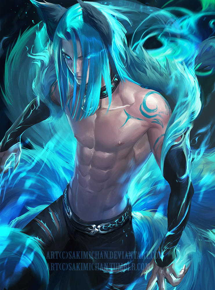 Blue Fire fox .nsfw optional. by sakimichan
