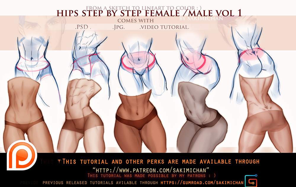 Hips step by step male/female tutorial pack promo  by sakimichan on