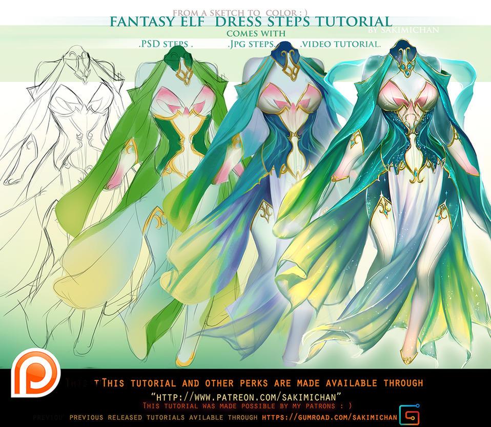 Fantasy Elf Dress Step S Tutorial Pack Promo By Sakimichan On Deviantart