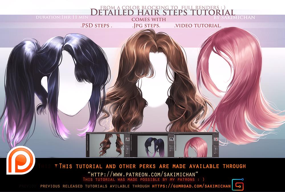 Detailed Hair Steps Tutorial Packomo By Sakimichan On Deviantart