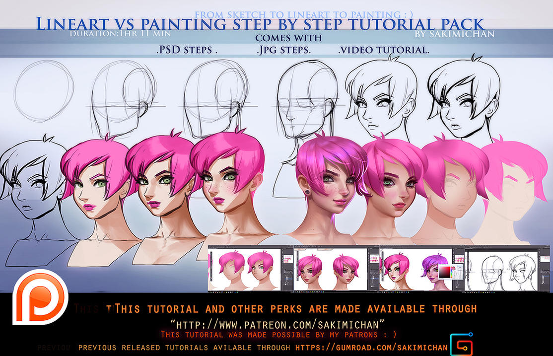 Digital Painting Without Lineart : Lineart vs painting steps tutorial pack promo by