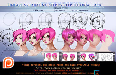lineart vs Painting steps tutorial pack.promo.