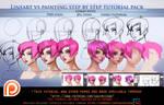 lineart vs Painting steps tutorial pack.promo.