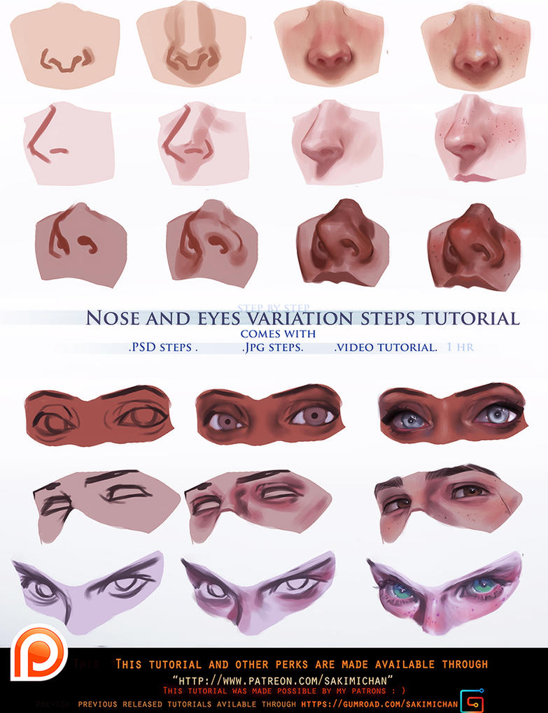 Nose and eyes variation steps tutorial.promo. by sakimichan on ...