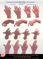 Painted Hands variation steps tutorial pack .promo