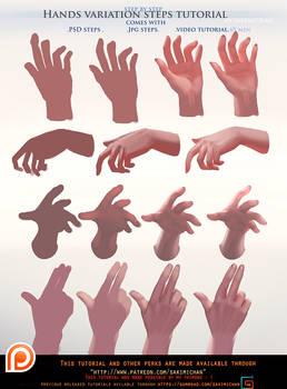 Painted Hands variation steps tutorial pack .promo