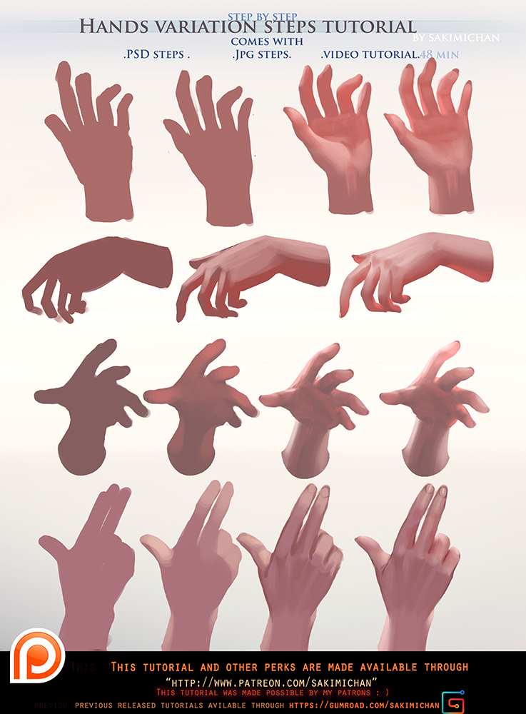Painted Hands Variation Steps Tutorial Pack Promo By