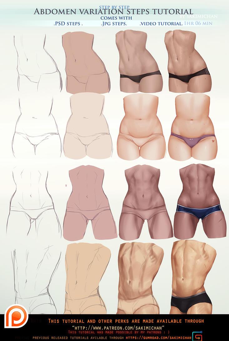 abdomen steps tutorial pack .promo. by sakimichan on deviantart, Skeleton