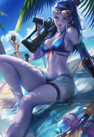 Beach day widowmaker by sakimichan