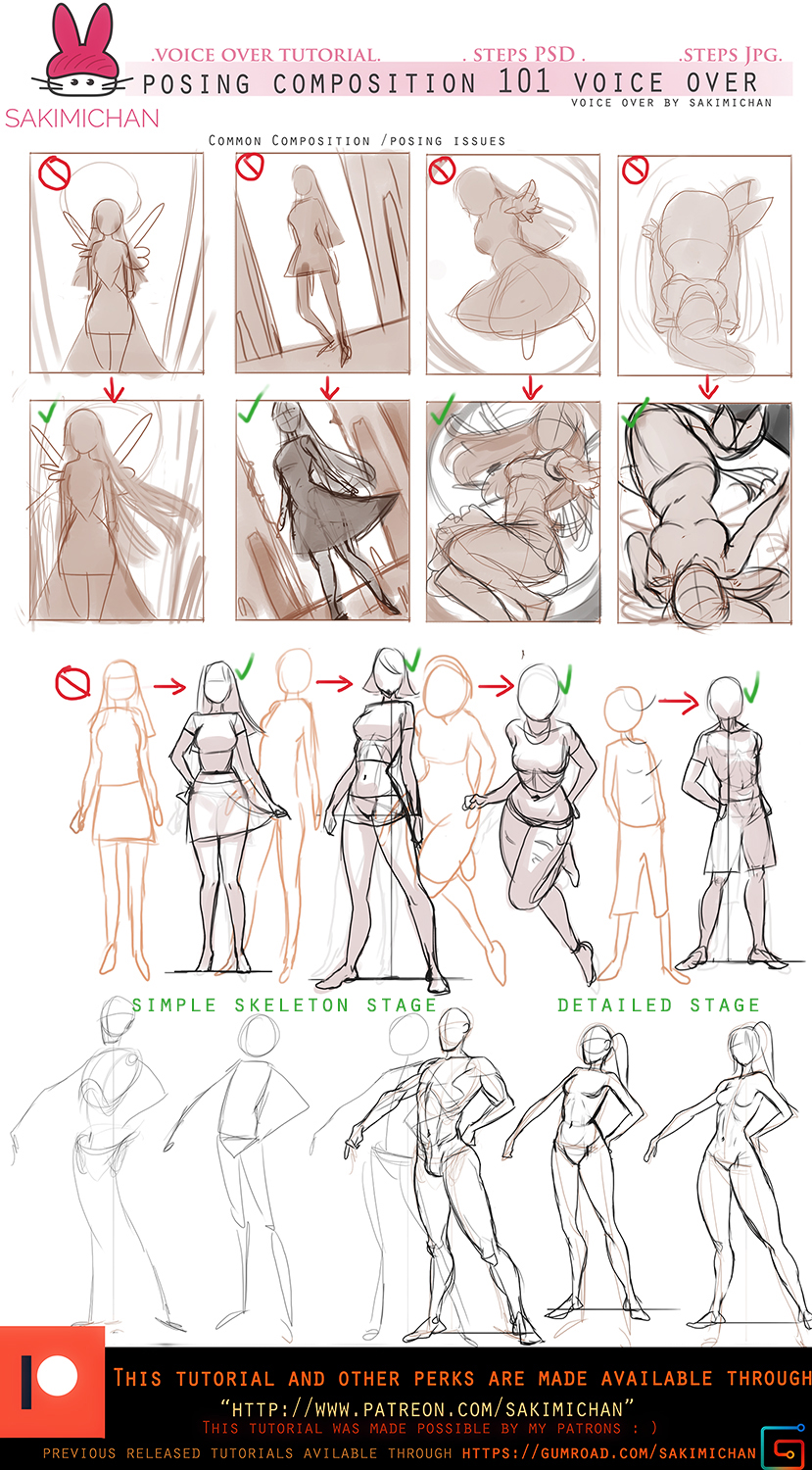 Posing/compositon for characters .voice over.promo by sakimichan