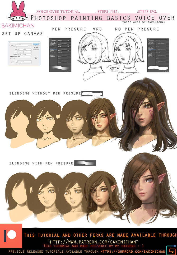 Photoshop painting basics voice over.promo. by sakimichan