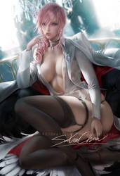 Lightning suit pinup by sakimichan