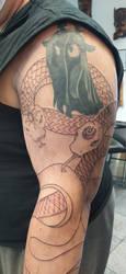Snake Luna and Celestia Tattoo by GrayTheZebra