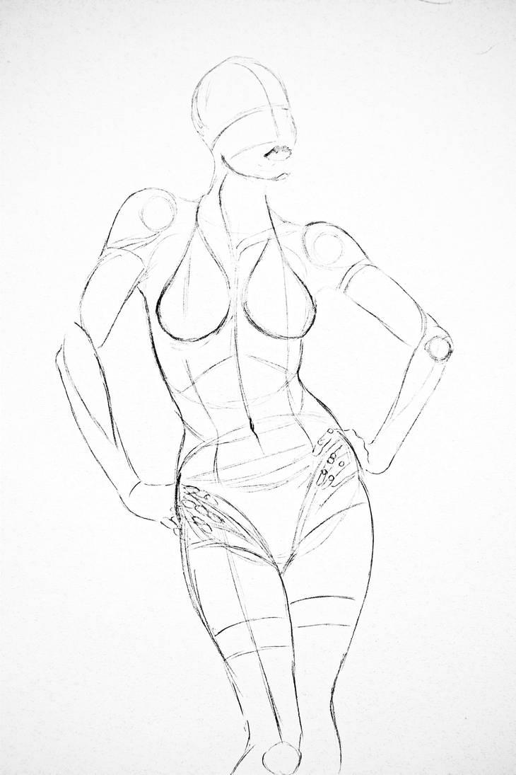Sketch   Hajime Sorayama's Sexy Robot by RyanSharqui