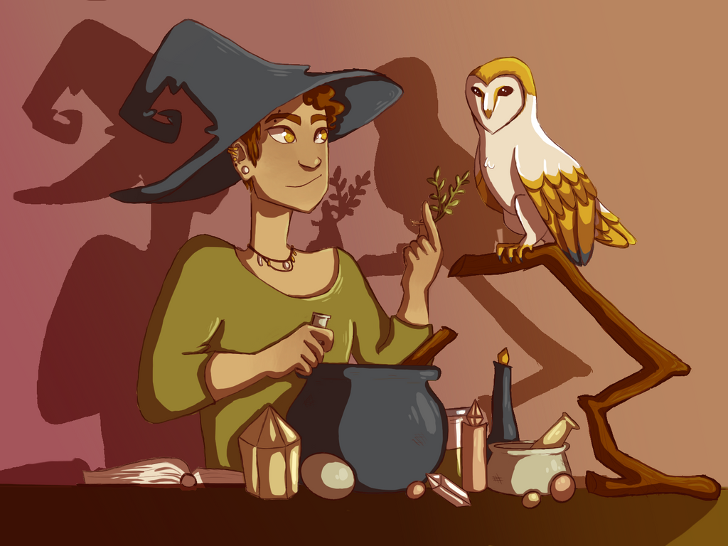 Familair Owl And Witch by sprinkles1766