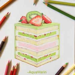Kiwi Strawberry Layered Cake