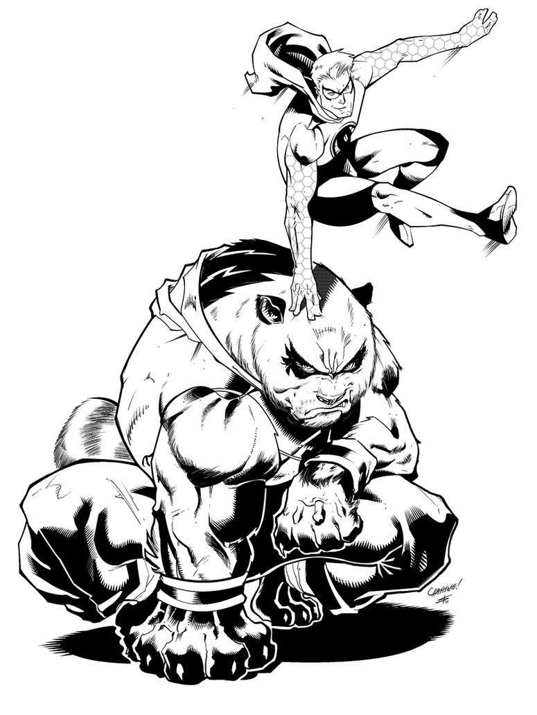 Spider-Squirrel and Trash Panda Inks by IanDSharman