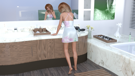 Adaline at the Sink Rear View by Oddman26