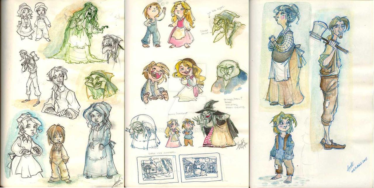 Hansel and Gretel sketches by Sandora