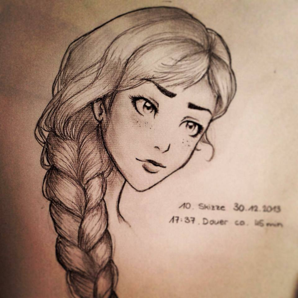 how to draw blue wavy ponytail for girls