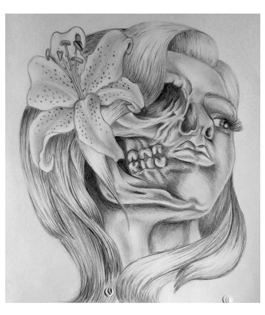 Skull Girl Tattoo Design by AbigailRawlings