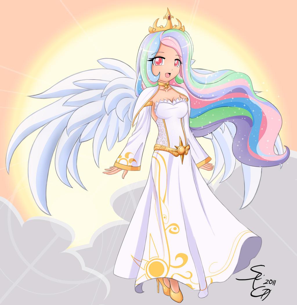 Princess Celestia HOOMAN by AngriestAngryArtist on DeviantArt Celestia Mlp Human