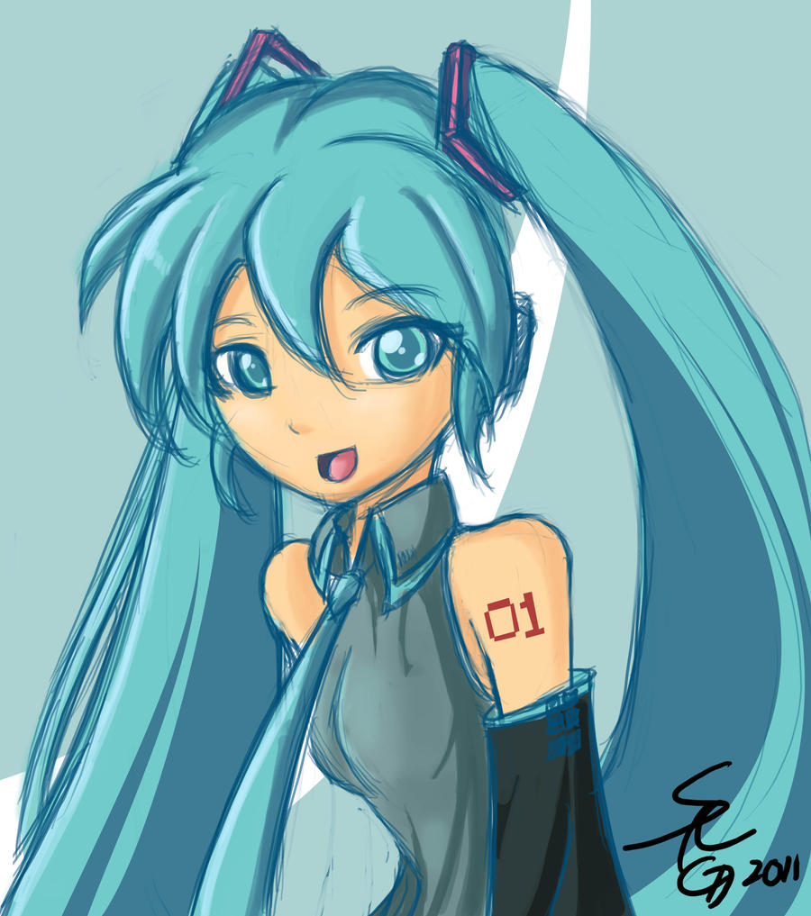 Hatsune Miku Ustream Quick Illustration. By