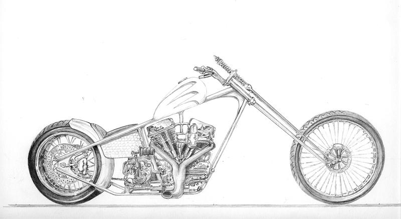 concept chopper drawing by z vincent