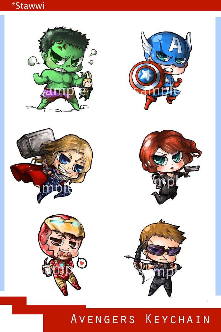 avengers chibi keychain by stawwi