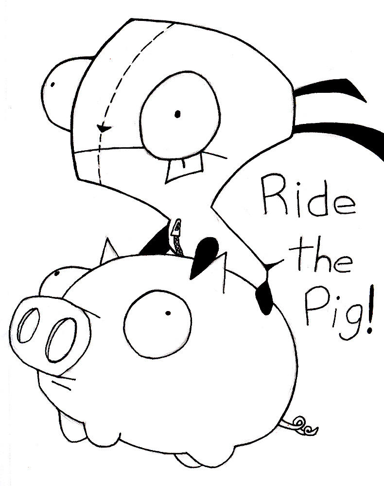 gir and piggy coloring pages - photo#3