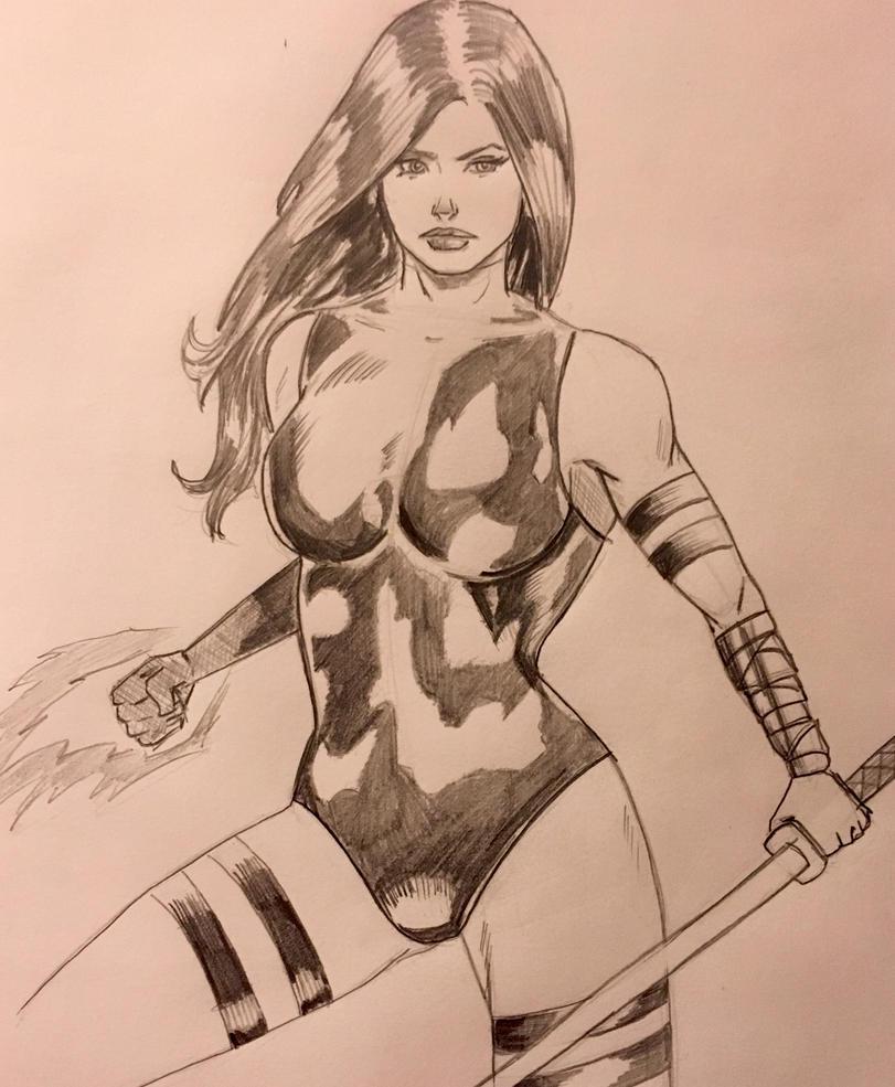Psylocke Sketch by TheRiotRanger
