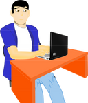 Computer guy at his computer