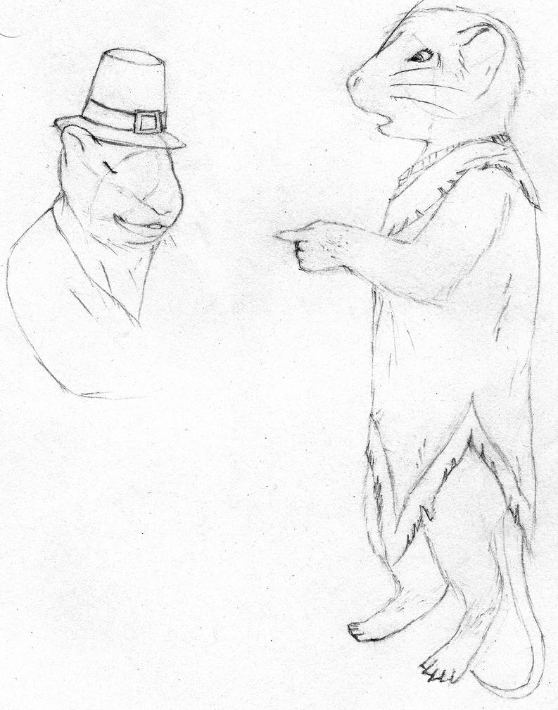 Image: A female, anthropomorphic, American field mouse, wearing a Native American dress, turns to point in astonishment at a male, anthropomorphic Eurasian house mouse wearing a pilgrim hat, who seems to be talking back at her smugly. Half of the male's body has not yet been drawn. Caption: