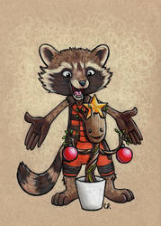 Christmas Rocket and Groot by tee-kyrin