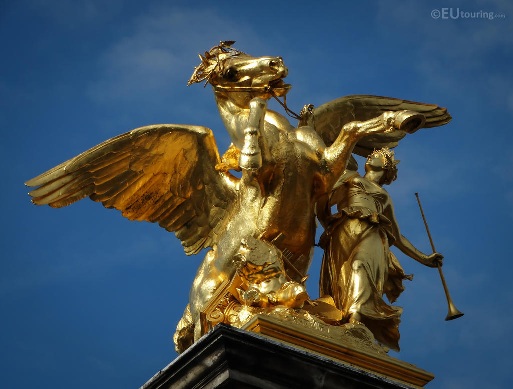 One of four Pegasus held by Fame statues on Pont A by EUtouring