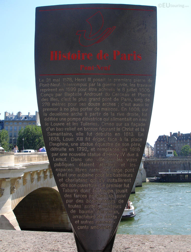 Pont Neuf informational plaque by EUtouring