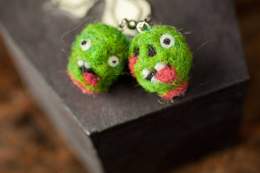 Severed Zombie Head Needle Felted Earrings by themaniacalmenagerie